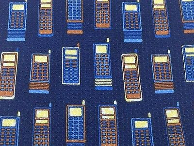 Novelty Tie Cravattificio Old Cell Phones on Navy Blue Silk Men Necktie 48