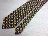 Gentlemen's Silk Tie - Black w/Copper Flower Pattern 36