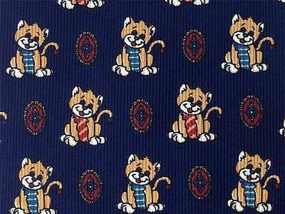 Happy Smiling CAT TIE on Blue Animal Novelty Theme Repeat Silk Necktie 2