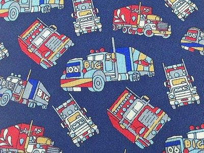 RAPHAEL Silk Tie - Blue with Big Trucks Design 38