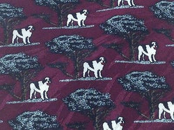 BIG DOGS Silk Tie - Dark Maroon with Black, Shite & Gray Dog Pattern 40