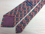 CHRISIAN DIOR PARIS Silk Tie - Red with Floral Vine Pattern 33