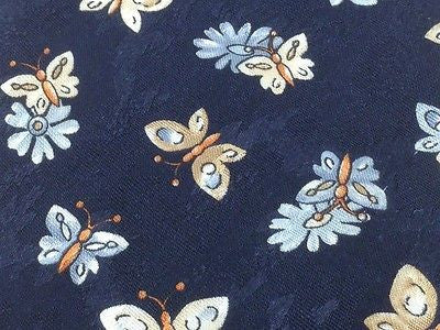 Animal Tie Hemy Monel Butterflies on Flower on Blue Silk Men Necktie 48