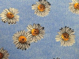 Designer Tie Dunhill White Sunflower on Fade Denim Blue Silk Men Necktie 47