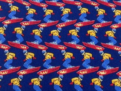 Novelty Tie Banana Republic Snowboard Men On Dark Blue Silk Men Necktie 42