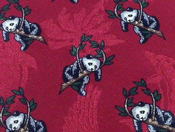 Animal Tie Panda - Koala sitting in a Tree Red Silk Men Necktie 28