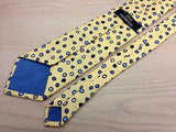 Designer Tie Jim Thompson Blue Dots on Yellow Silk Men NeckTie 46