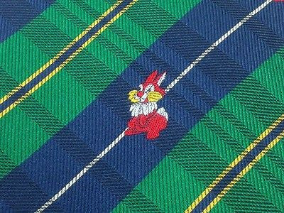 Animal Tie Red Bunny on Green And Blue Stripes Silk Men Necktie 32