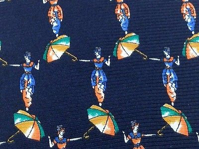 Novelty Tie Silvio De Luca Woman Wuth Umbrella On Dark Blue Silk Men Necktie 29