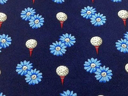 Designer Tie Fil a Fil Golf Ball & Flowers on Blue Silk Men NeckTie 46