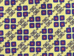 Geometric TIE Gold Chainlink Square on Yellow Made in ITALY Silk Necktie 6