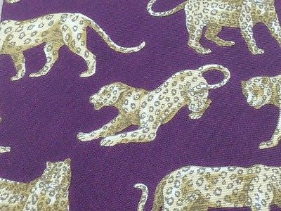 Animal Tie Beaufort Leopard Leaping on Purple Silk Men Necktie 48
