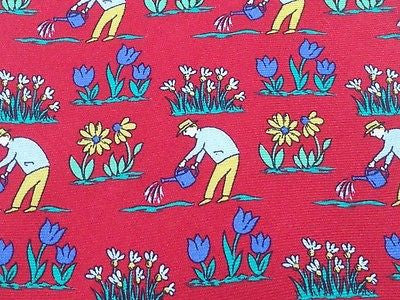 Designer Tie Anrea Silardi Watering the Plants on Dark Pink  Silk Men NeckTie 30