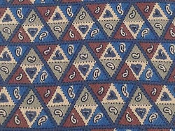 LANVIN Paris Italian Silk Tie - Blue, Rust, Tan Triangle Geometric Pattern 39