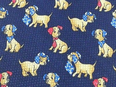 ETON BLUES Italian Silk Tie - Navy with Tan, Blue & Red Puppy Pattern 38