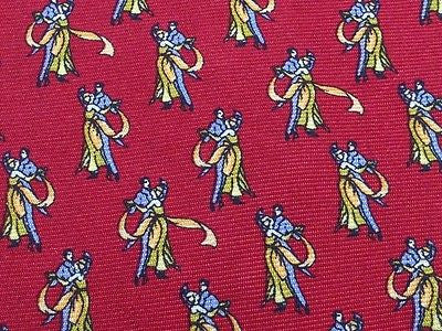 Vintage Old Couple Dancing Elegant Print on Red Silk Men Necktie 28
