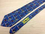 Novelty Tie Looney Tunes Buggs Bunny & Daffy Duck on Blue Silk Men Necktie 47