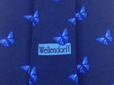 Animal Tie Andre Claude Canova  Blue Butterfly on Navy Blue Silk Men Necktie 47