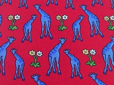 CUSTOM SHOP SHIRTMAKERS Silk Tie - Red with Blue Giraffes 27