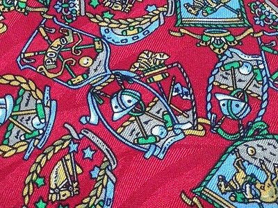 Novelty Tie Marco Laurenti Perpetual Polo Design on Red Silk Men Necktie 45