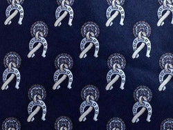 Novelty TIE Luca Franzini Horseshoe on Black Made in ITALY Silk Necktie 9