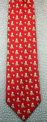 TEDDY BEAR & DAISY FLOWERS NOVELTY REPEAT POLYESTER MEN NECK TIE 16