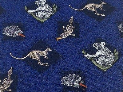 AUSTRALIA by A. Royale & Co. Polyester Tie  - Blue with Aussie Wildlife 27