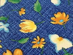 EXCLUSIV Polyester Tie - Blue with Bright Flower Pattern  36