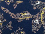 PERRY ELLIS PORTFOLIO Silk Tie - Dark Navy with Tan Fish Pattern     34