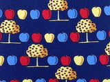 Novelty TIE Apple & Tree Fruit on Blue London Silk Necktie 5