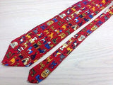 Animal Tie Angelo Litrico Dogs on Red Silk Men Necktie 45
