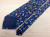 Animal Tie Pura Seta Butterflies And Flowers On Dark Blue Silk Men Necktie 29