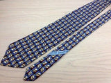 Designer Tie Ermenegildo Zegna Blue Print on Brown Silk Men NeckTie 30