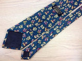 Novelty TIE Teddy Bear Clown Party Blue Made in Italy Repeat Silk Necktie 4