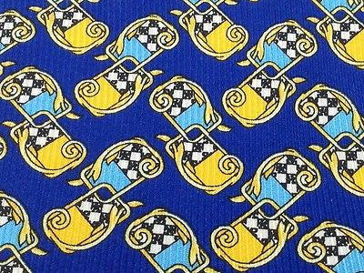Designer Tie Pierre Lorrain Yellow Blue Pattern On Blue Silk Men Necktie 42