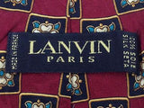 Geometric TIE Lanvin Paris Floral Check Silk Men Necktie 23