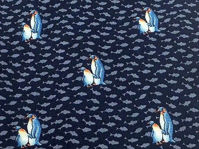 Animal Tie Beaufort Penguins & Sea of Fish on Deep BLue Silk Men Necktie 47