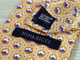 NINA RICCI Paris Silk Tie - Gold with Blue & Ivory Pattern 35