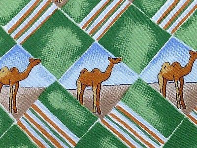 Animal Tie Pura Seta Camel in Green Rhombus with Strips Silk Men NeckTie 44