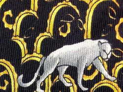 Panther Wild Cat Goldenrod Black TIE Animal Repeat Novelty Silk Men Necktie 17