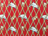 Dolphins Shells & Ropes Red TIE Repeat Animal Novelty Silk Men Necktie 18