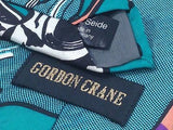 "GORDON CRANE Silk Tie - Teal Animation ""BAM!"" Design   35"