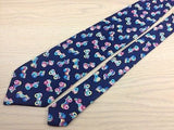 Van Linnen 80's Pink Cars on Blue Silk Men Necktie 28