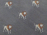 Animal Tie  Perpetual Lions on Grey Silk Men Necktie 45