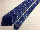 VBK Silk Tie - Navy with Multi-Colored Flower Pattern - Elegant, Classic 33