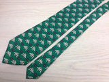 Animal Tie U and Roma Turtle with Flowers in Square on Green Silk Men NeckTie 44