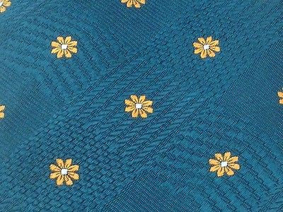 Designer Tie Andrew's Tie Yellow Flower on light Blue Silk Men NeckTie 49