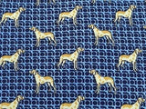 Animal Tie Charles Jourdan Paris Dog on Blue Silk Men Necktie 28