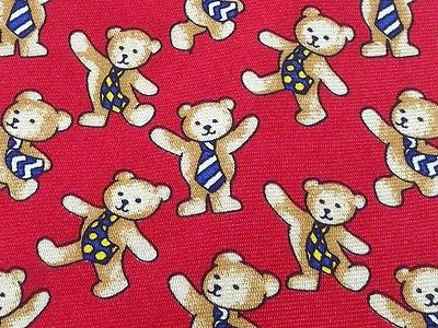 Animal Tie Beaufort Dancing Bear on Scarlett Red Silk Men Necktie 47