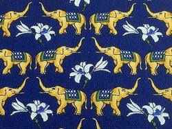 Animal Tie Cafe Cotton Elephant & Flowers on Blue Silk Men NeckTie 46